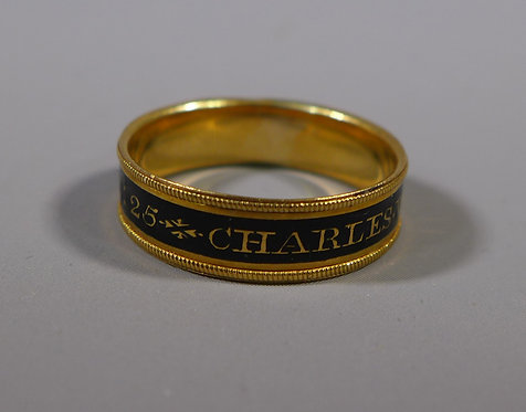 Antique Georgian 18ct Gold and Black Enamel Mourning Ring Dated 1810 #2