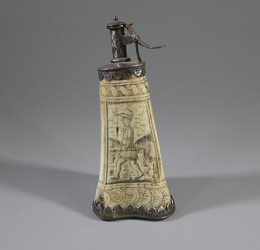 Rare 17th C. German Scrimshaw Engraved Ox Bone Powder Flask main