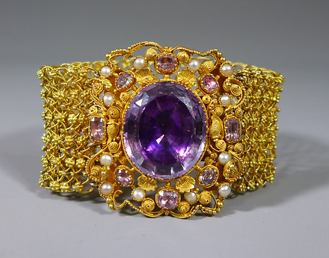 Fine Antique Georgian Cannetille 20ct Gold Amethyst and Pearl Mesh Bracelet #1