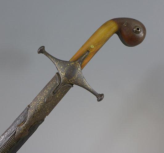 Fine 19th C. Turkish Ottoman Shamshir Sword with Rhino Grip #1