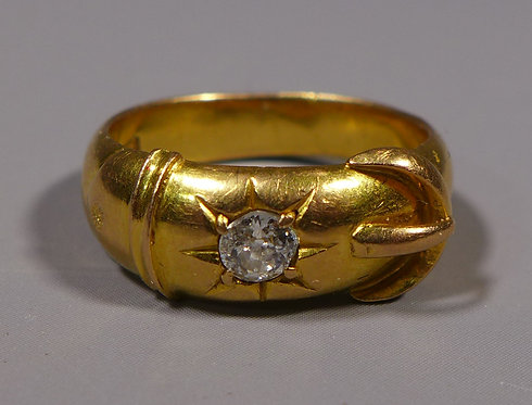 Fine Antique Chinese 21ct Gold and Diamond Buckle Ring main