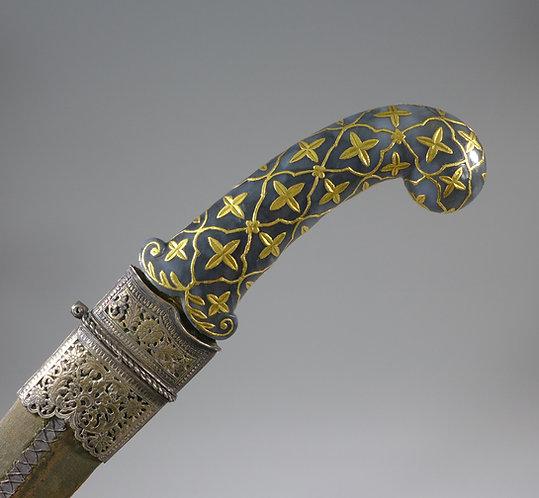 Superb 18th C. Mughal Indian Khanjar Gold Inlay Jade Hilted Dagger main