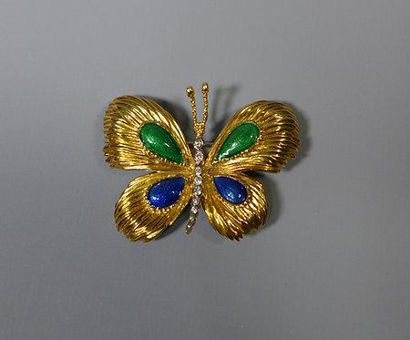 "Fine Vintage 18ct Gold and Diamond Kutchinsky ""Butterfly"" Brooch 1968 #1"