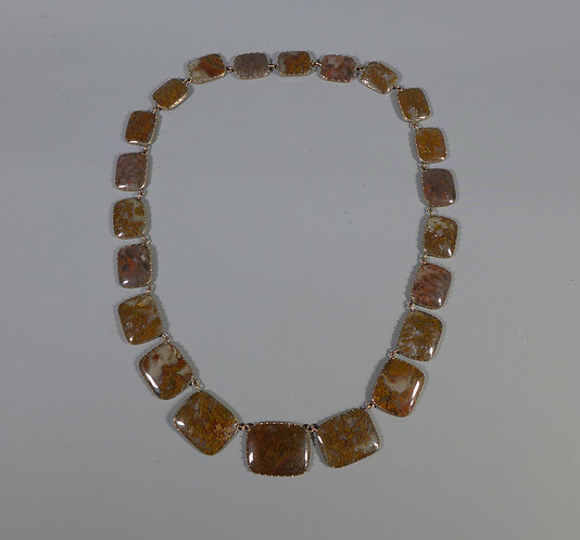 Fine Antique Gold Mounted Georgian Agate PanelRiviere Necklace #1