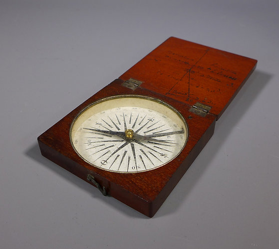 Early 19th C. Mahogany Cased Pocket Compass #1