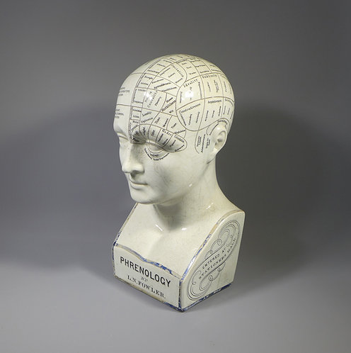 Rare Original Antique 19th C. L N Fowler's Ceramic Phrenology Head main