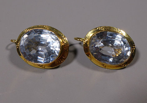 Pair of Vintage 18ct Gold Mounted Aquamarine Earrings Main