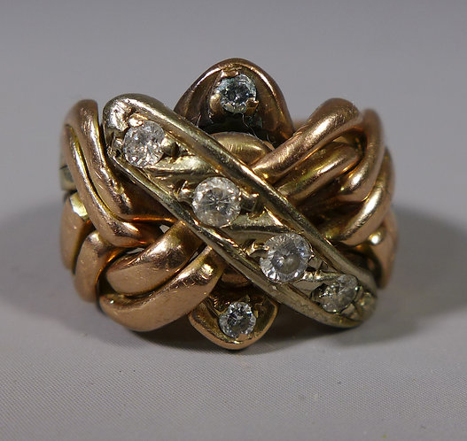 Antique Multi Coloured Gold and Diamond Puzzle Ring UK size P #1