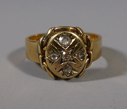 Fine 18ct Gold and Rose Cut Diamond Ring Birmingham 1899 UK Size S #4