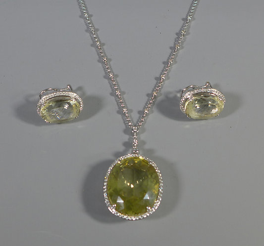 Fine Vintage 18k 750 White Gold Citrine and Diamond Pendant and Earring Set