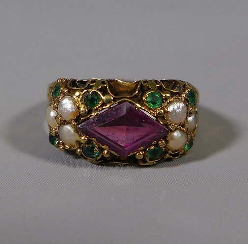 Antique 15ct Amethyst Pearl and Emerald Suffragette Ring UK size H #1