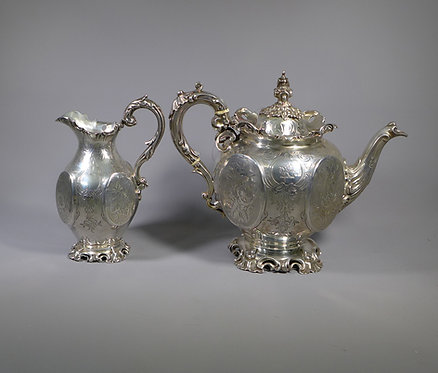 Fine Antique Victorian Sterling Silver Two Piece Tea Set London 1853 #1