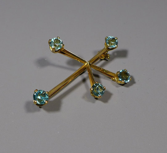 "Vintage 18ct Gold ""Southern Cross"" Brooch set with Blue Topaz 5.6 grams main"