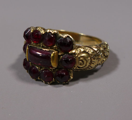 Large Antique Georgian 15 Carat Gold Garnet Set Mourning Ring Dated 1828 Main