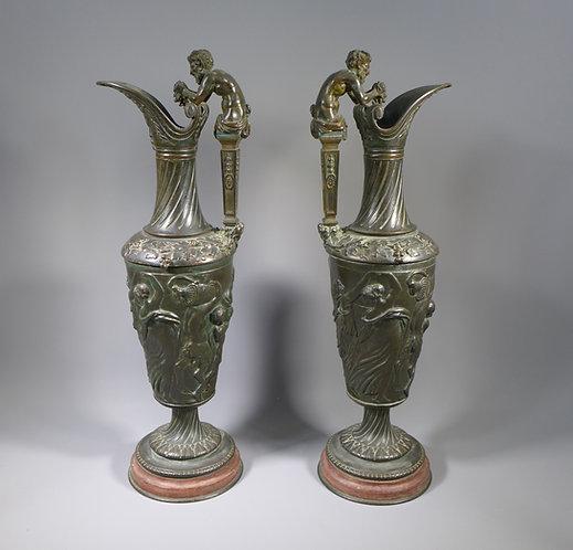 Rare Pair of 18th/19th C. Grand Tour Bacchanalian Bronze Ewers main