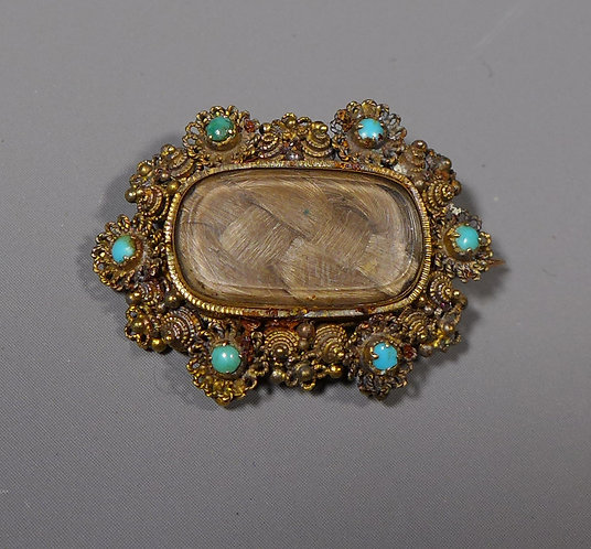 Antique Georgian 15ct Gold Mounted Cannetille Mourning Brooch Set with Turquoise Main