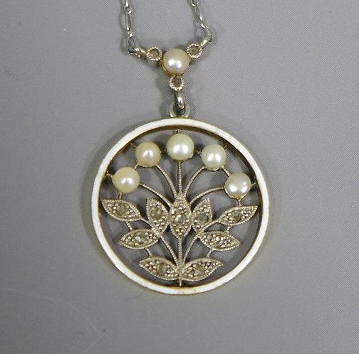 Fine Antique Art Nouveau Diamond, Enamel and Pearl Pendant Necklace main