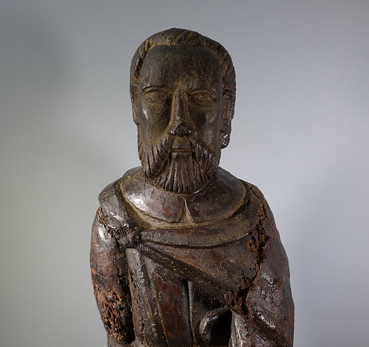 Fine Medieval Religious Wood Carving Figure of a Saint #1