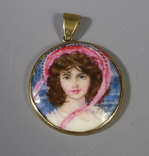 Vintage 9ct Gold Mounted L. G . Boullemier Painted Porcelain Pendant #1