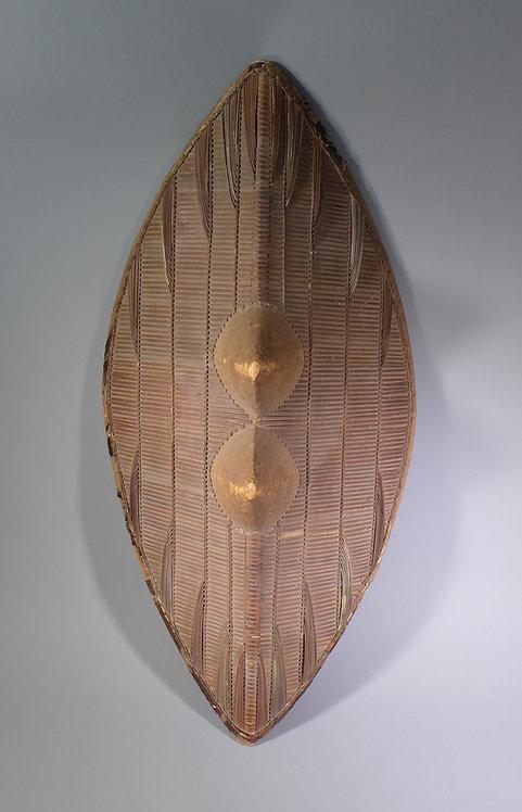 Fine Antique African Tribal Ganda Double Boss Rattan Shield #1