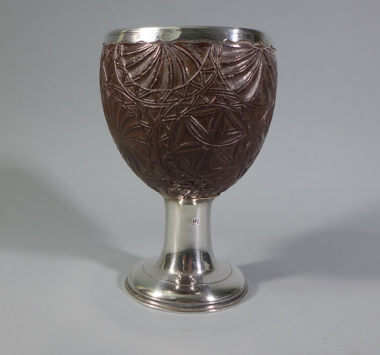 A George III Silver Mounted Coconut Cup Goblet Chalice #1