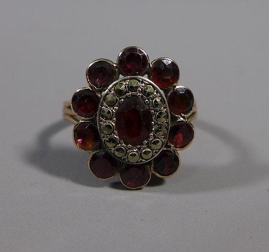 Fine Georgian 18ct Gold Almandine Garnet and Marcasite Ring UK Size N #1