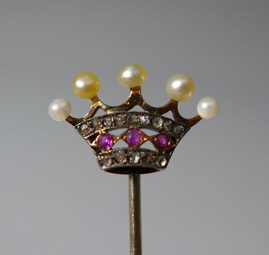 "Fine Antique 9ct Gold Pearl Ruby and Diamond ""Coronet"" Cravat Stick Pin #1"