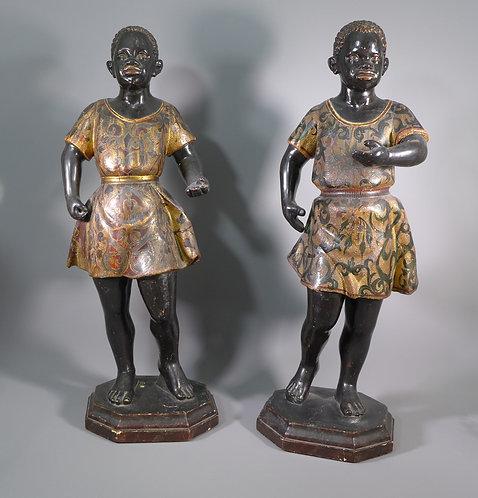 Fine Pair of Georgian Carved Wooden Painted Blackamoor Figures #1