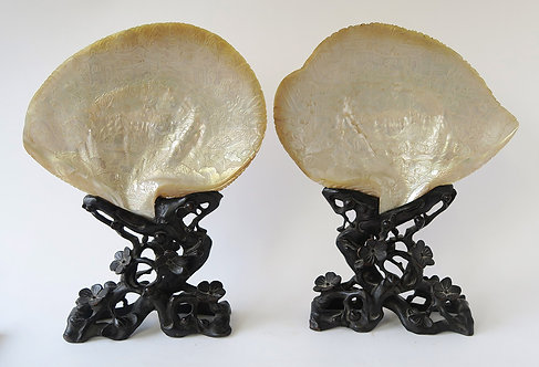 Rare Pair of 19th Century Cantonese Carved MOP Shells