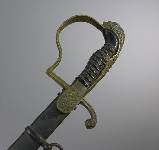 WW1 Imperial German Officer's Artillery Sword Lions Head Pommel #3