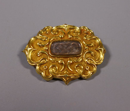 Fine Antique Early Victorian Gold Mounted Mourning Brooch #1