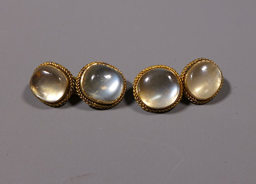 Fine Pair of 19th C. Antique 20 Carat Gold Mounted Moonstone Cufflinks front