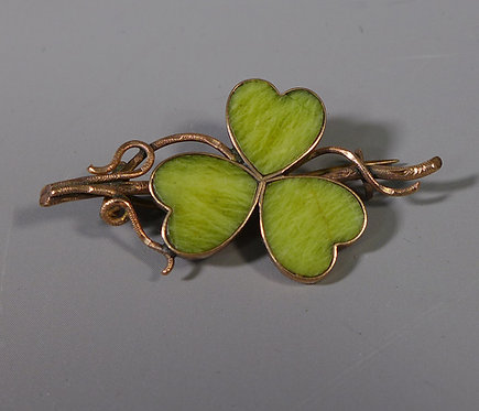 Antique Irish 9ct Rose Gold Mounted Connemara Marble Shamrock Brooch #1