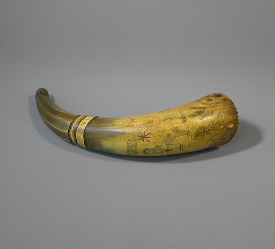 "Antique Folk Art Scrimshaw Cow Horn Powder flask Inscribed ""Hope"" main #2"