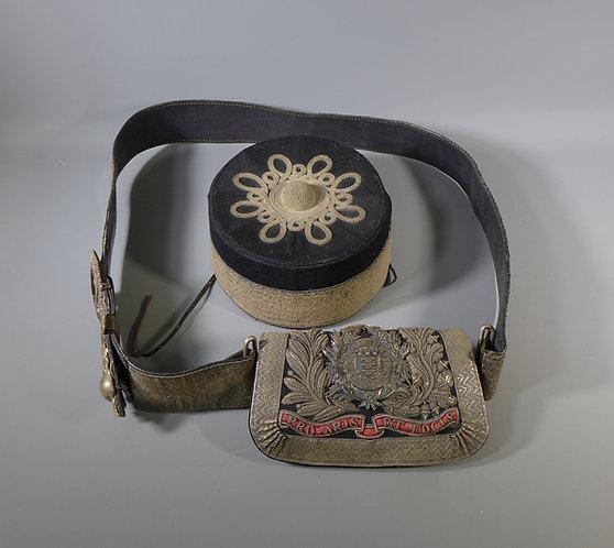 Victorian Artillery Officers Cross Belt & Pouch + Pillbox Cap #1
