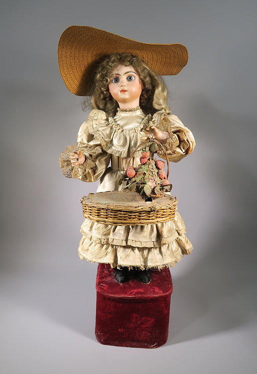 "Rare Antique Leopold Lambert Tete Jumeau ""Strawberry Girl"" Automaton C.1890 #1"