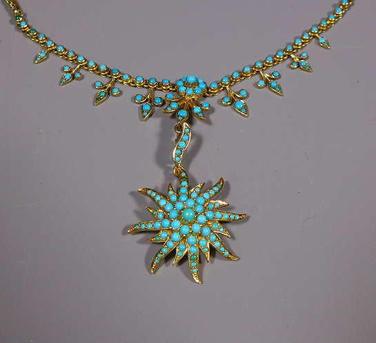 Fine Antique 15ct Gold and Turquoise Pendant Necklace main