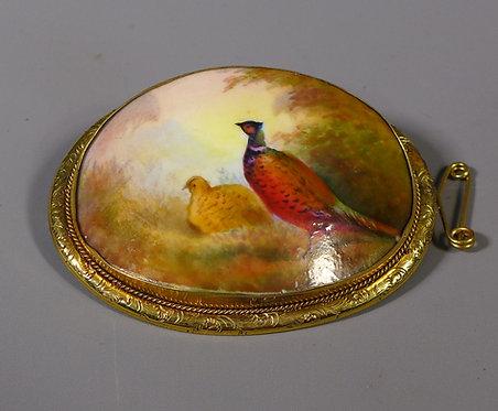 Vintage Gilt Metal Mounted Painted Porcelain Brooch Pheasants #1