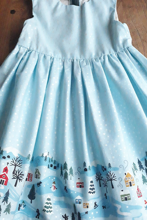 Christmas Dress with winter wonderland border print
