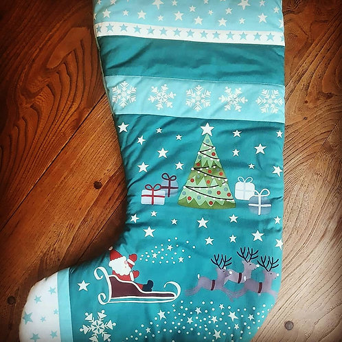 Large Green Glow in the Dark Christmas Stocking, Father Christmas, Reindeer