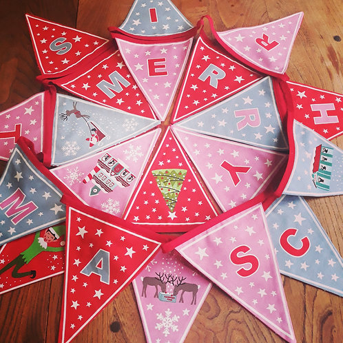 Glow in the Dark Christmas Bunting Pink