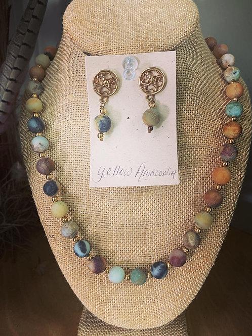 Yellow Amazonia Bead Necklace Set