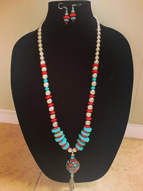 Red Coral and Turquoise Necklace Set
