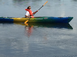 Stacy paddling for the first time