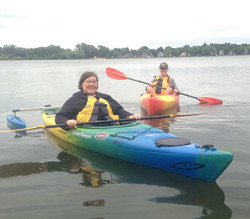 Betty paddling for the first time