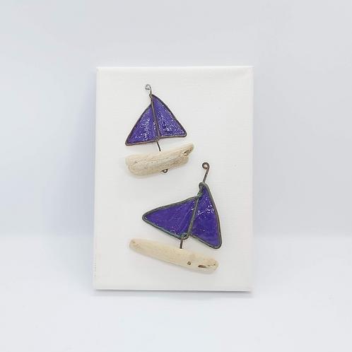 """Purple Boat Canvas 5"""" x 7"""""""