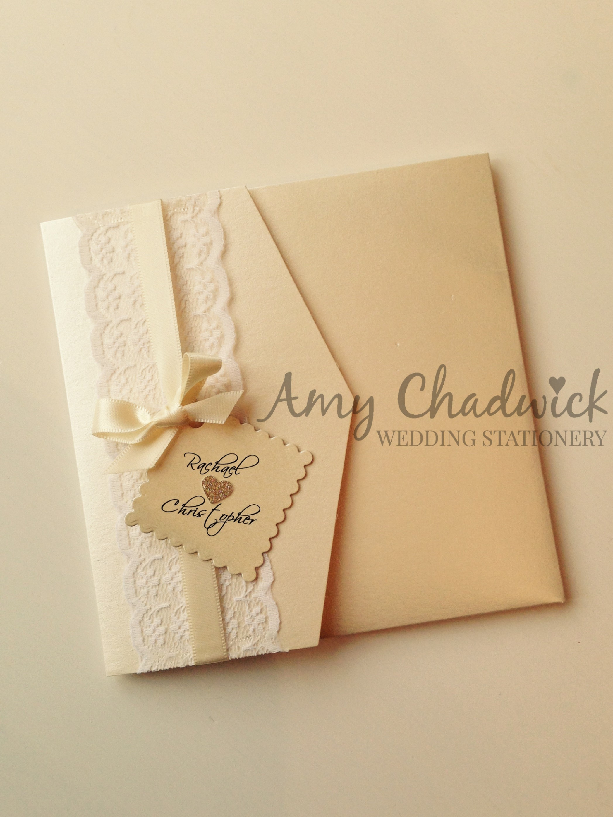 Ivory pearl pocket with lace & ivory ribbon