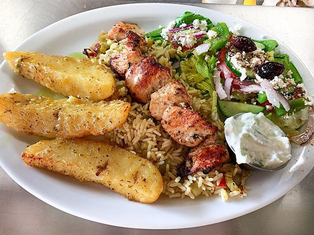 Chicken Souvlaki Dinner. Available for t