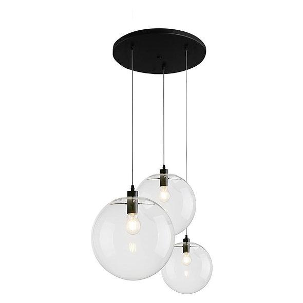 Contemporary 3-light Glass Globe Pendant Light