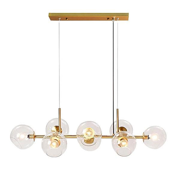 Mid-Century Modern Glass Globe Linear Chandelier
